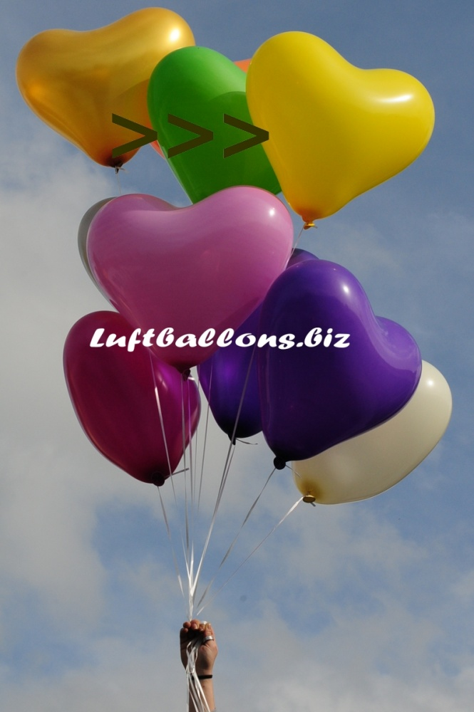 Großer gelber Herzluftballon mit Helium, 40 bis 45 cm Durchmesser