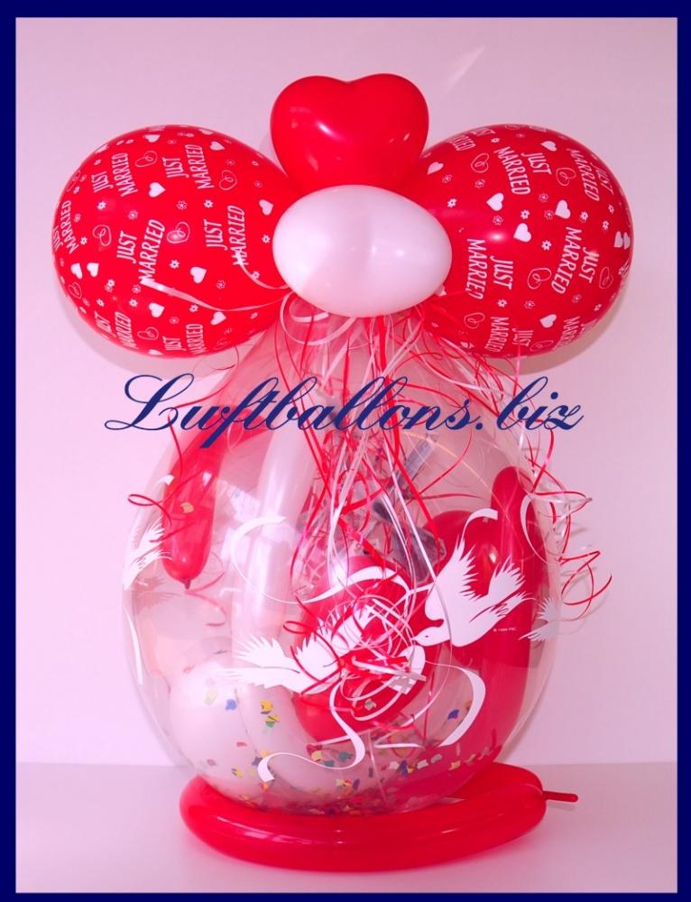 Verpackungsballon zur Hochzeit, Geschenk im Luftballon, Geschenkballon, Just Married
