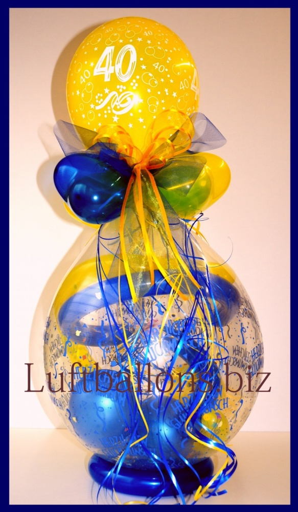 geschenkballon luftballon zum verpacken von geschenken zum 40 geburtstag lu geschenkverpackung. Black Bedroom Furniture Sets. Home Design Ideas