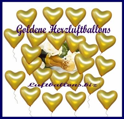 Goldene Herzluftballons mit Helium-Ballongas