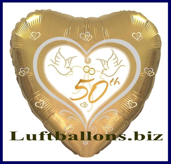 Herzluftballon aus Folie mit Helium zur Goldenen Hochzeit