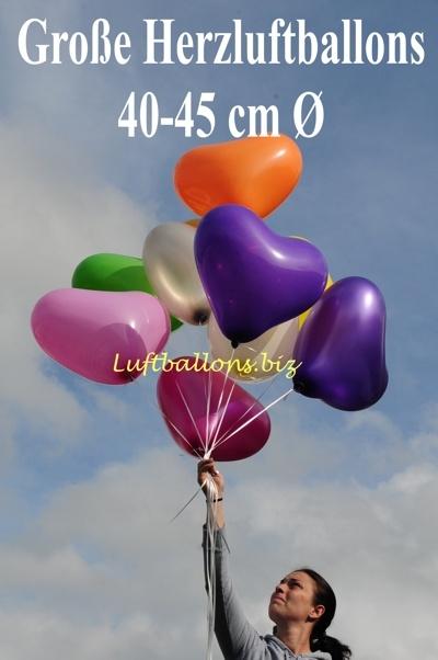 Große Herzluftballons mit 40 cm bis 45 cm Durchmesser