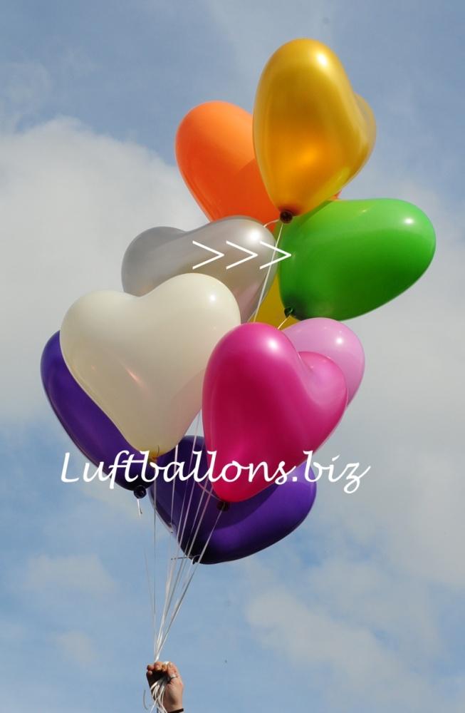 Großer grüner Herzluftballon mit Helium, 40 bis 45 cm Durchmesser