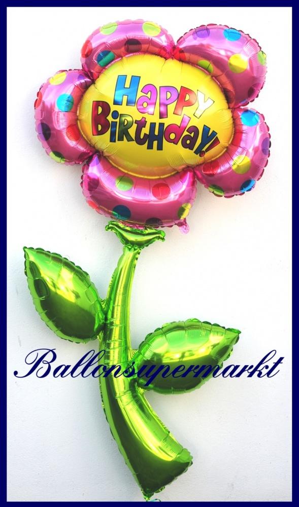 happy birthday blume deko luftballon aus folie lu luftballons deko folie happy birthday blume 85611. Black Bedroom Furniture Sets. Home Design Ideas