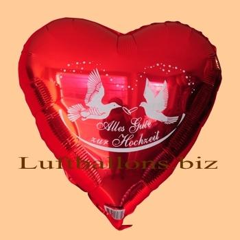 Roter Herzluftballon aus Folie mit Helium: Alles Gute zur Hochzeit