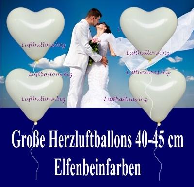 Große elfenbeinfarbene Herzluftballons mit 40 bis 45 cm Durchmesser