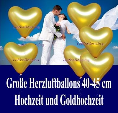 Große goldene Herzluftballons mit 40 bis 45 cm Durchmesser
