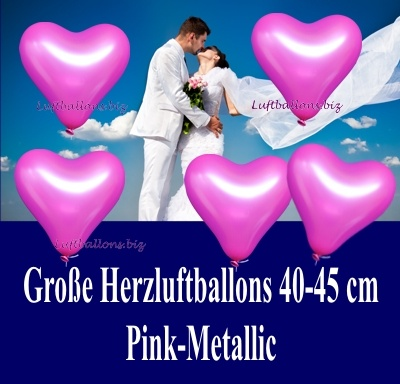 Große pinkfarbene Herzluftballon mit Helium, 40 bis 45 cm Durchmesser