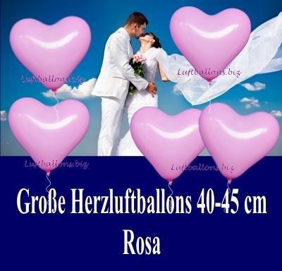 Große rosafarbene Herzluftballon mit Helium, 40 bis 45 cm Durchmesser