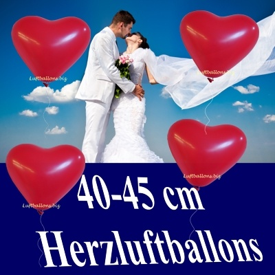 Herzluftballons, 40-45 cm, Rot, mit Helium