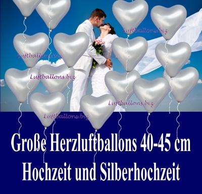 Große silberne Herzluftballons mit 40 bis 45 cm Durchmesser