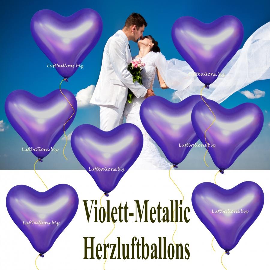 Große Violett-Metallic Herzluftballon mit Helium, 40 bis 45 cm Durchmesser