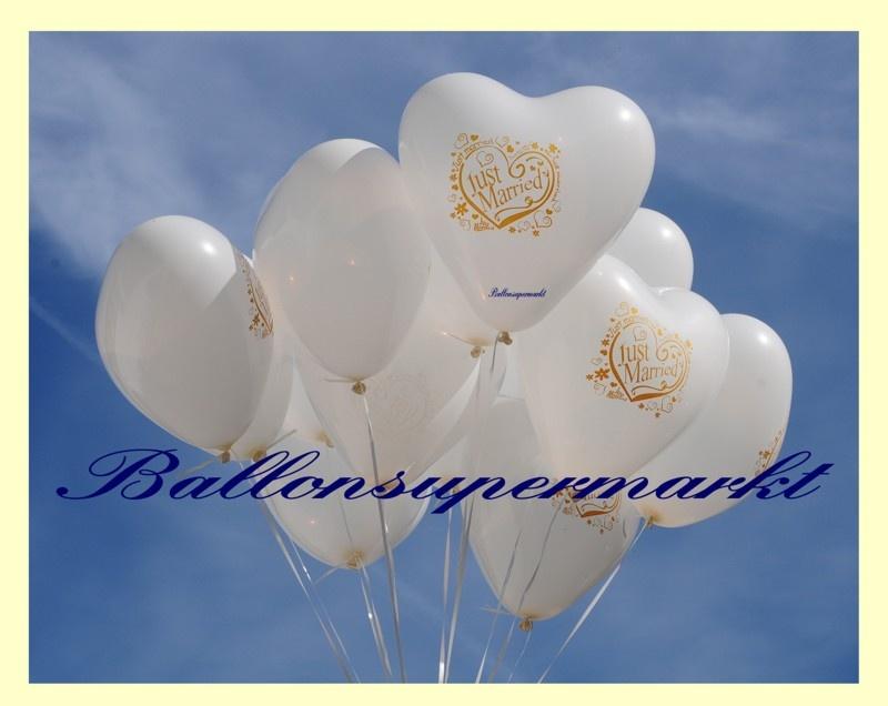 Weiße Herzluftballons zur Hochzeit, Just Married