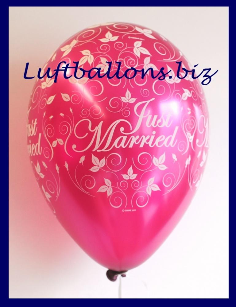 Luftballon zur Hochzeit, Just Married, Latexballon in der Farbe Burgund, 30 cm