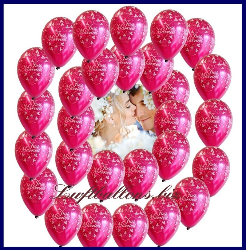 Just Married Luftballons zur Hochzeit in der Farbe Burgund