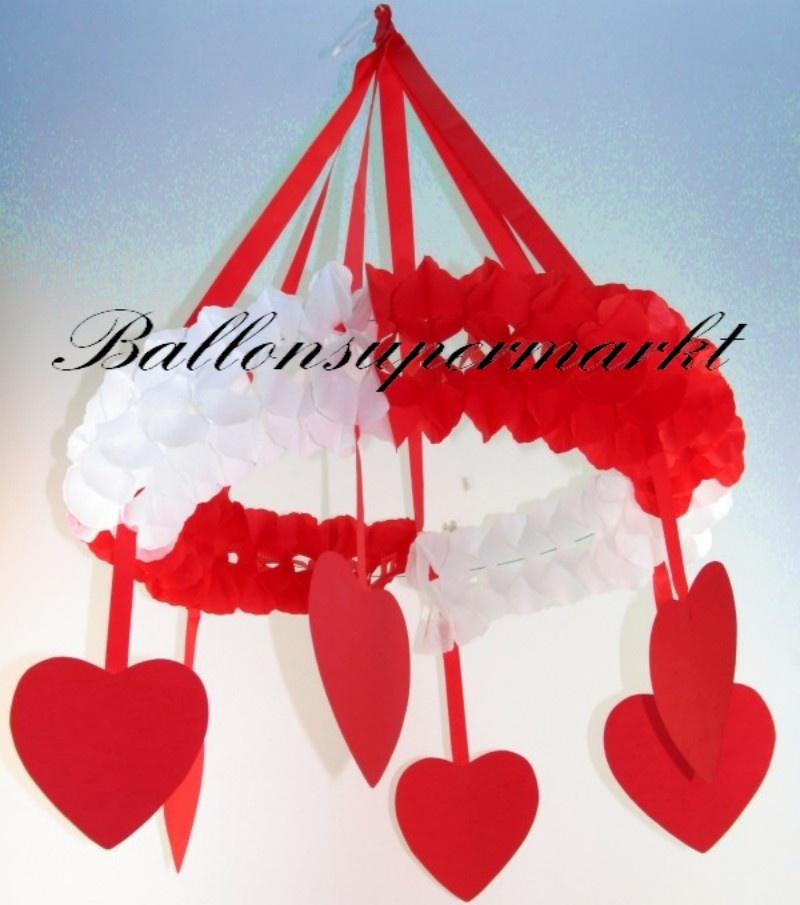 Hochzeitskranz, Dekorationskranz, Rot und Weiß