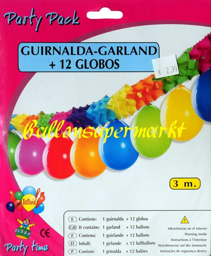 Girlande mit Luftballons, bunter Girlandenschmuck zu Party, Fest und Karneval