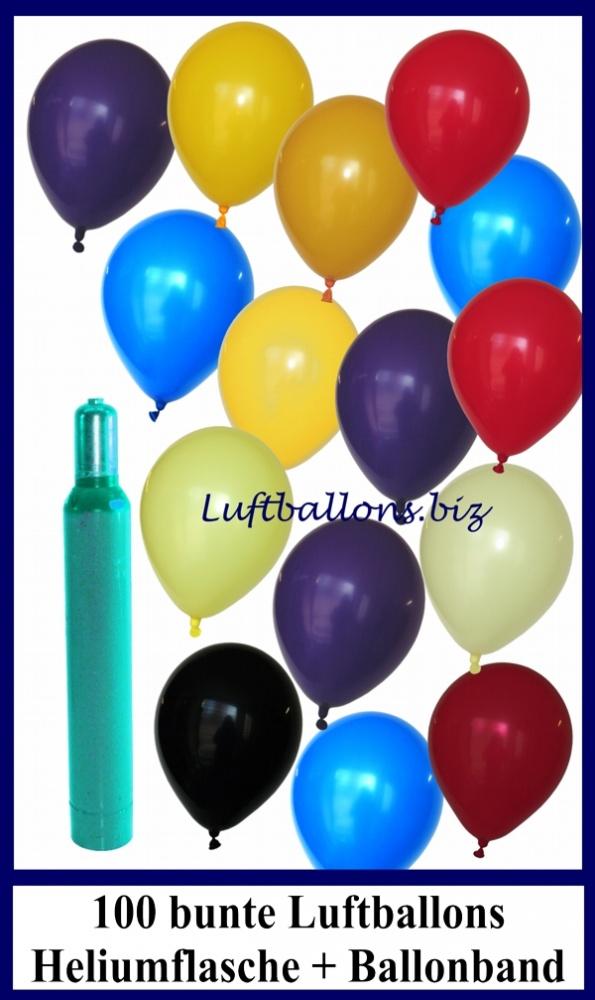 100 bunte Luftballons mit Helium, Set, Ballongasflasche, Latexballons