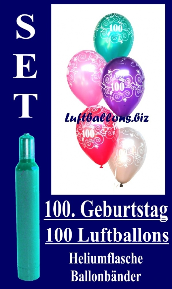 luftballons helium set zum 100 geburtstag 100 latex. Black Bedroom Furniture Sets. Home Design Ideas