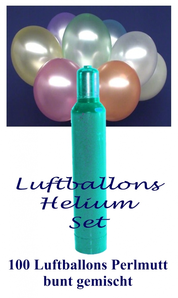 luftballons helium set 100 bunte perlmutt latex. Black Bedroom Furniture Sets. Home Design Ideas