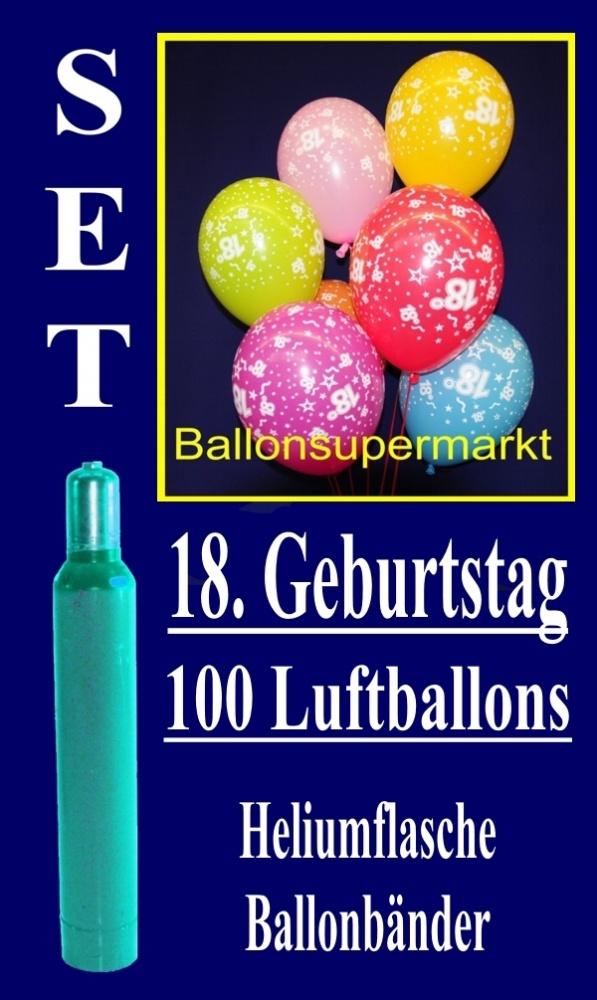 luftballons helium set zum 18 geburtstag 100 latex luftballons mit der zahl 18 lu helium. Black Bedroom Furniture Sets. Home Design Ideas