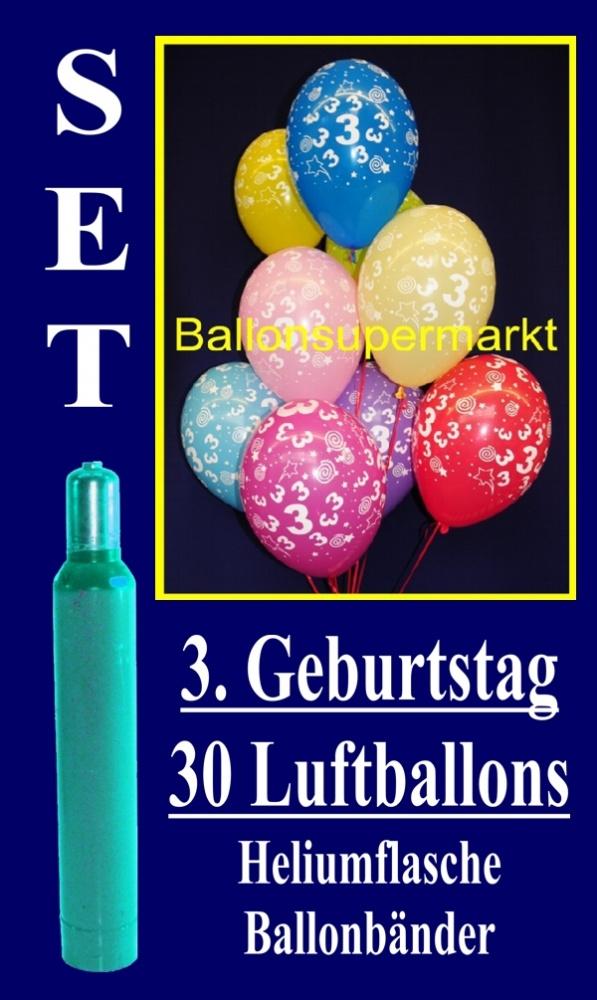 Luftballons Helium Set, zum 3. Geburtstag, 30 Luftballons mit Heliumgas