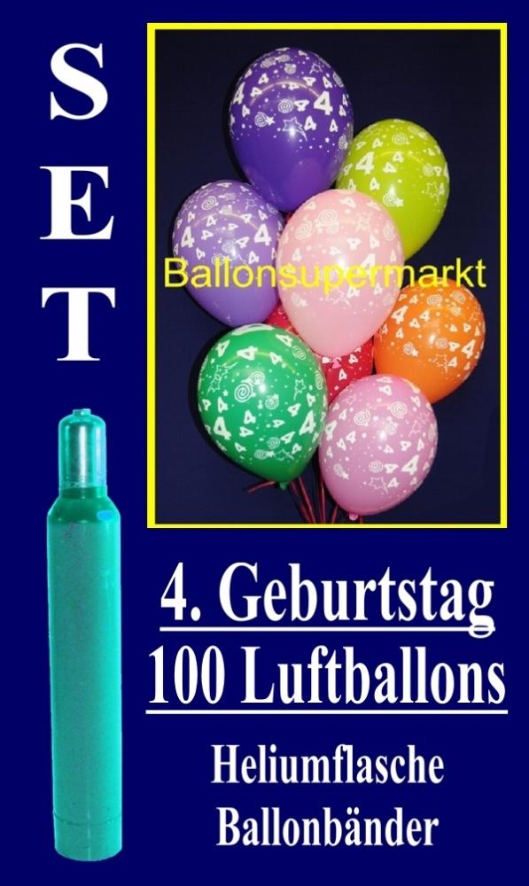 luftballons helium set zum 4 geburtstag 100 latex luftballons mit der zahl 4 lu helium. Black Bedroom Furniture Sets. Home Design Ideas