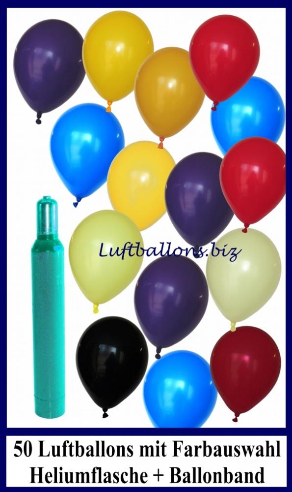 50 bunte Luftballons mit Helium, Set, Ballongasflasche, Latexballons