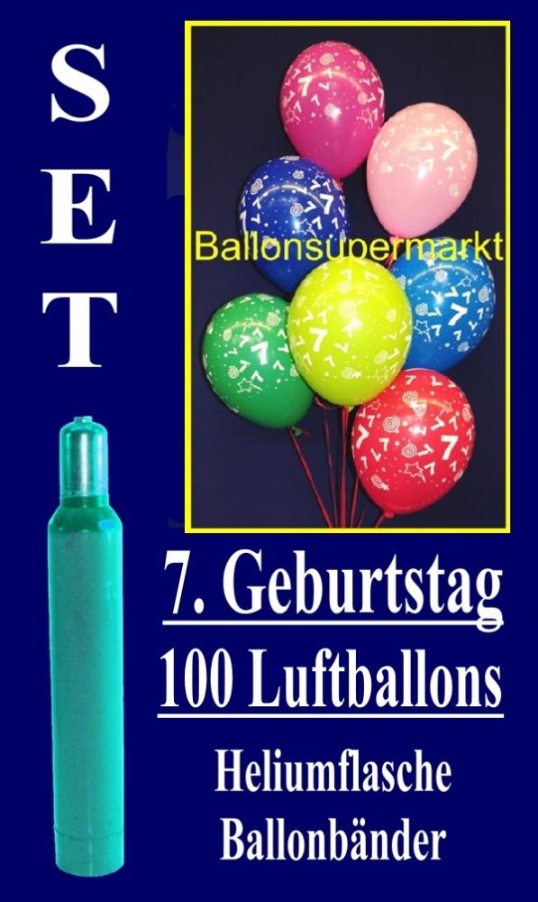 luftballons helium set zum 7 geburtstag 100 latex luftballons mit der zahl 7 lu helium. Black Bedroom Furniture Sets. Home Design Ideas