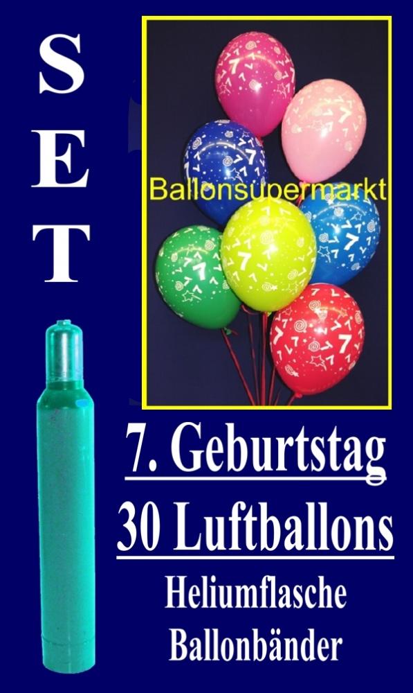 Luftballons Helium Set, zum 7. Geburtstag, 30 Luftballons mit Heliumgas