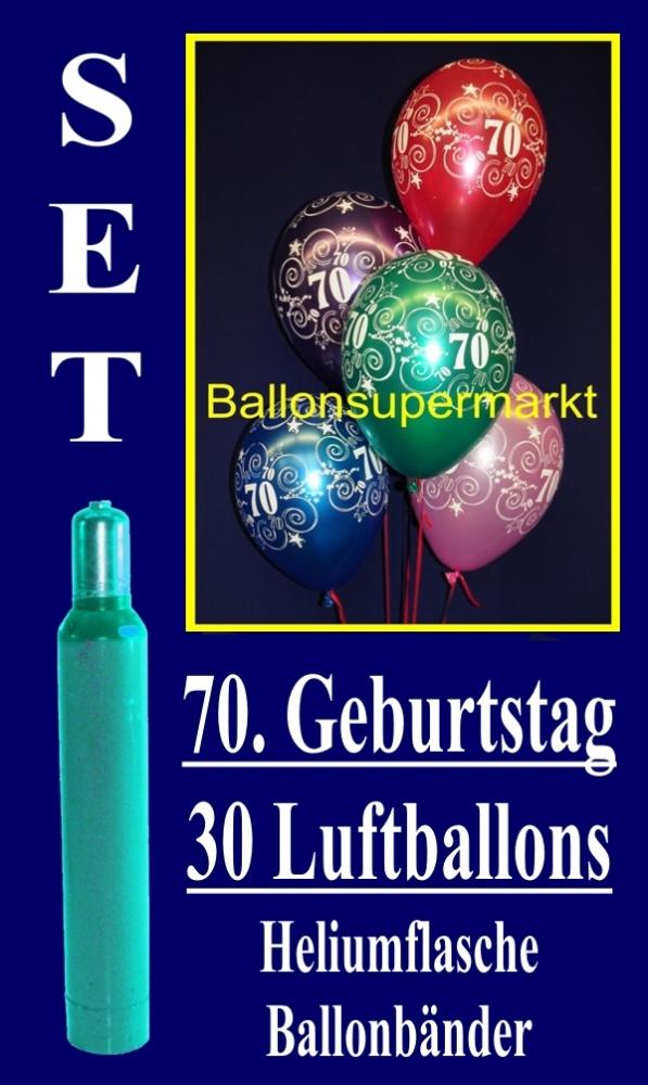 Luftballons Helium Set, zum 70. Geburtstag, 30 Luftballons mit Heliumgas