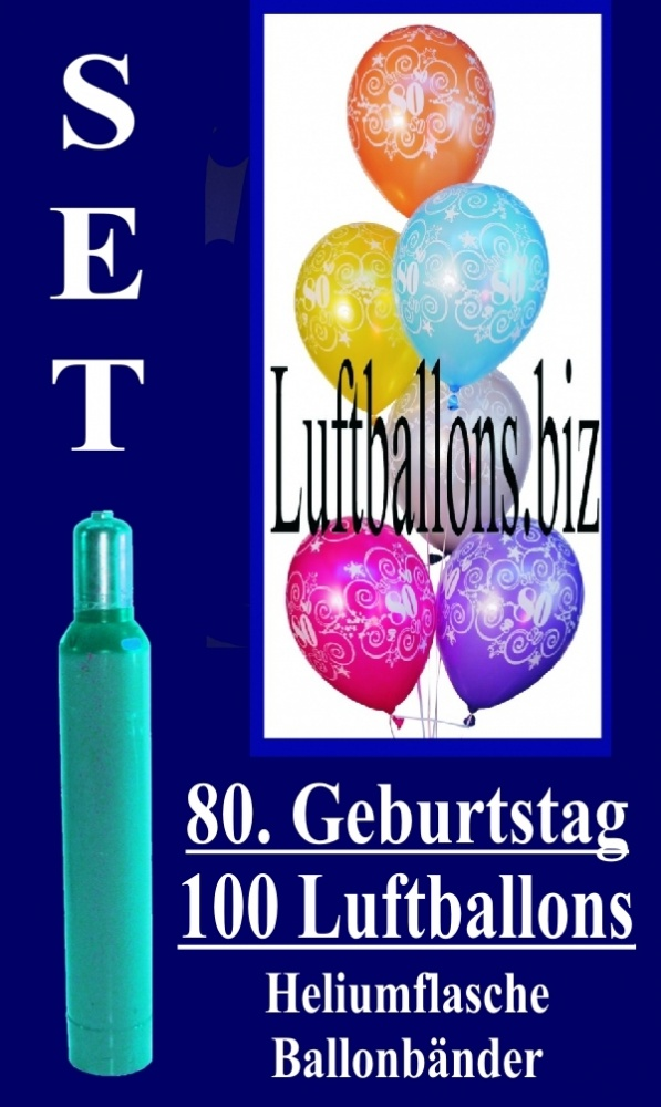 luftballons helium set zum 80 geburtstag 100 latex luftballons mit der zahl 80 lu helium. Black Bedroom Furniture Sets. Home Design Ideas