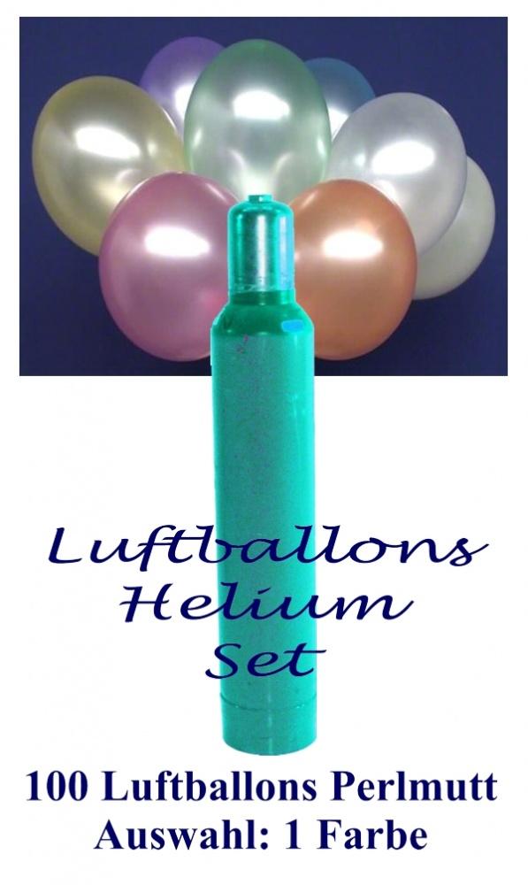 100 bunte Perlmutt Luftballons mit Helium, Set, Ballongasflasche, Latexballons in der gewünschten Farbe