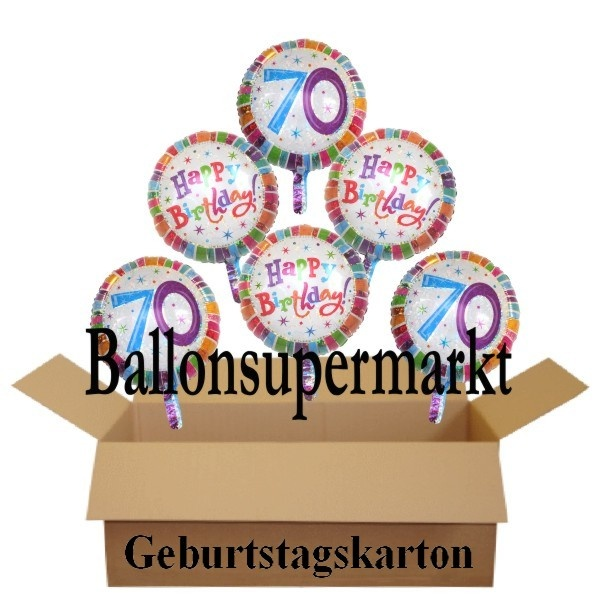 geburtstagsgeschenk luftballons mit helium im karton radiant birthday 70 geburtstag lu. Black Bedroom Furniture Sets. Home Design Ideas