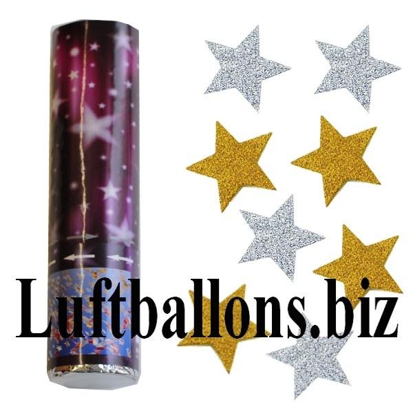 Konfettikanone mit Sternenregen in Gold und Silber