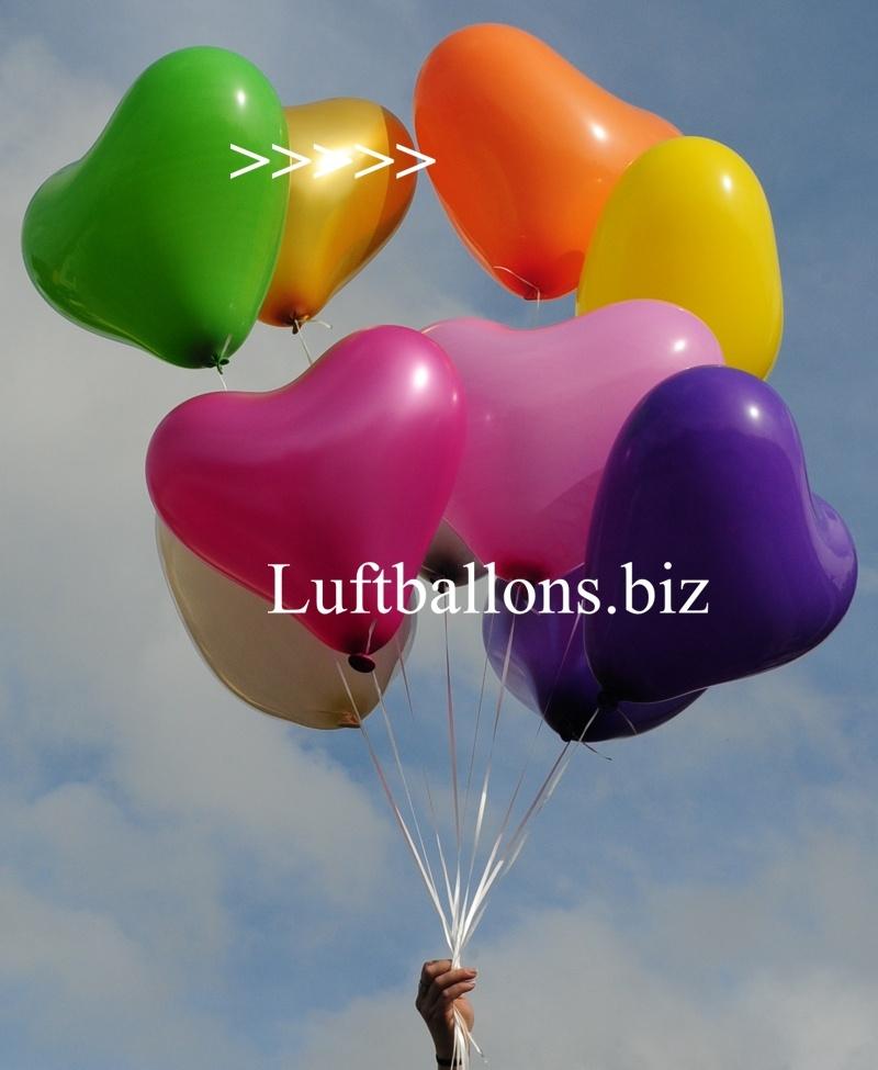 Großer orangener Herzluftballon mit Helium, 40 bis 45 cm Durchmesser