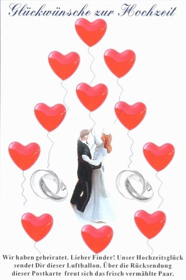 Postkarte für Luftballons zur Hochzeit: Glückwünsche zur Hochzeit.