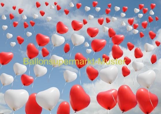 Postkarte für Luftballons zur Hochzeit: Herzluftballons