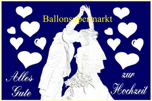 Postkarte für Luftballons zur Hochzeit: Hochzeitspaar