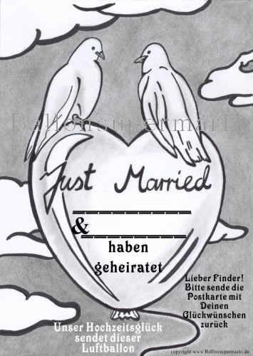 Postkarte für Luftballons zur Hochzeit, Just Married Ballonflugkarte mit Hochzeitstauben