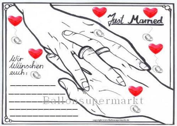 Postkarte für Luftballons zur Hochzeit, Just Married Ballonflugkarte