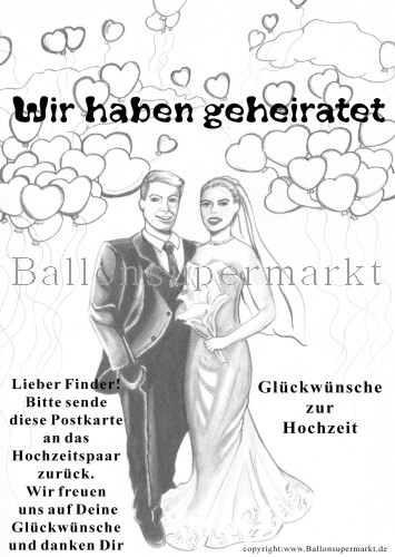 Postkarte für Luftballons zur Hochzeit, Wir haben geheiratet