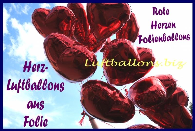 Rote Herzluftballons aus Folie mit Helium
