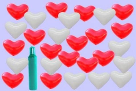 Rote und Weiße Herzluftballons mit Helium-Ballongas