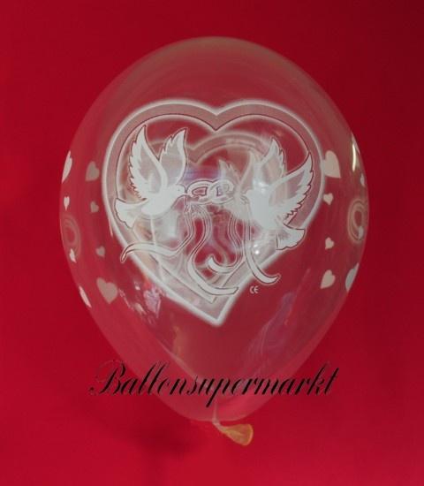luftballons mit Hochzeitstauben zur Hochzeit, transperent