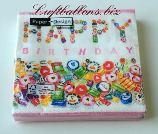 Servietten zum Geburtstag, Tischdekoration Geburtstagsparty, Papierservietten Happy Birthday, Sweet Birthday