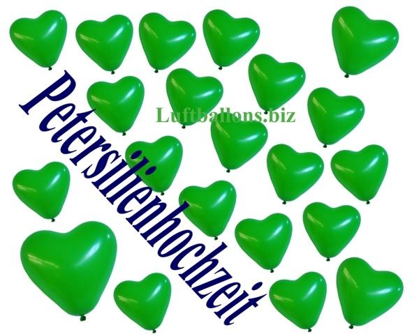Herzluftballons Grün mit Helium-Ballongas