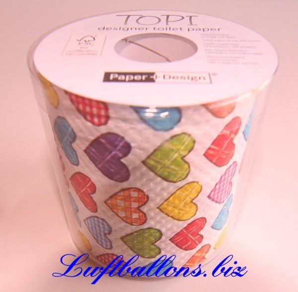 Design Toilettenpapier, Partyartikel, Liebe, Hochzeit, bunte Herzen