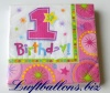 Servietten zum Kindergeburtstag, Papierservietten, Tischdekoration, First Birthday, 1. Geburtstag, Girl
