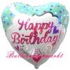 Princess Happy Birthday, Folien-Herzluftballon mit Helium zum Geburtstag